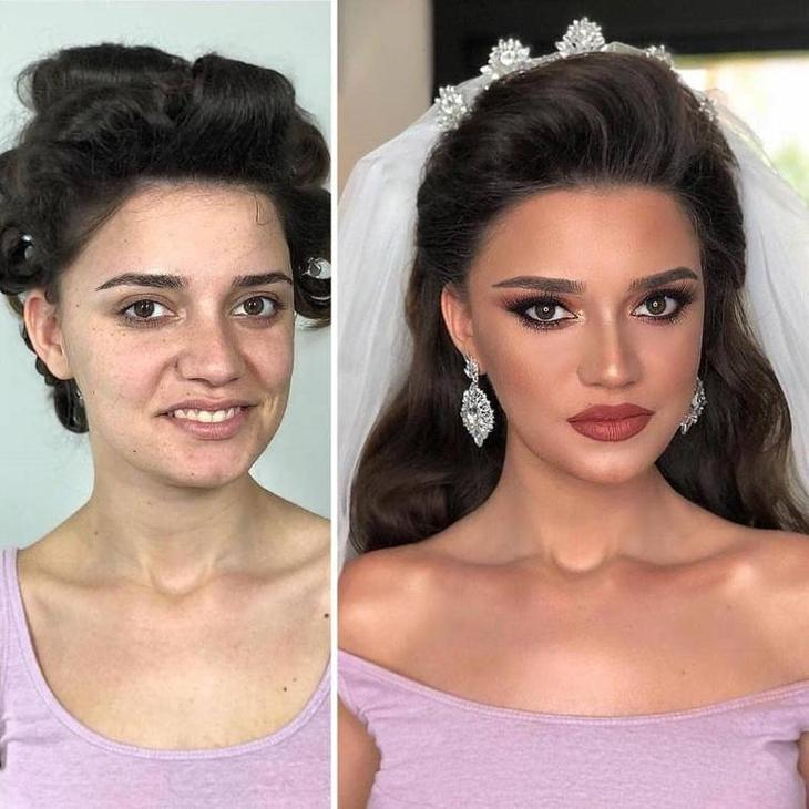 30 невест до и после свадебного макияжа, который сделал их королевами праздника