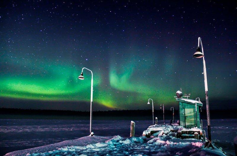 Северное сияние над Белым морем, Северная Карелия зима, красота, природа, россия, фото
