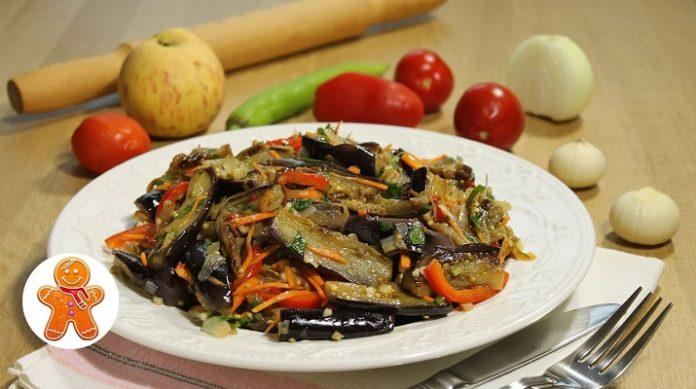Очень вкусный салат из баклажанов по-корейски