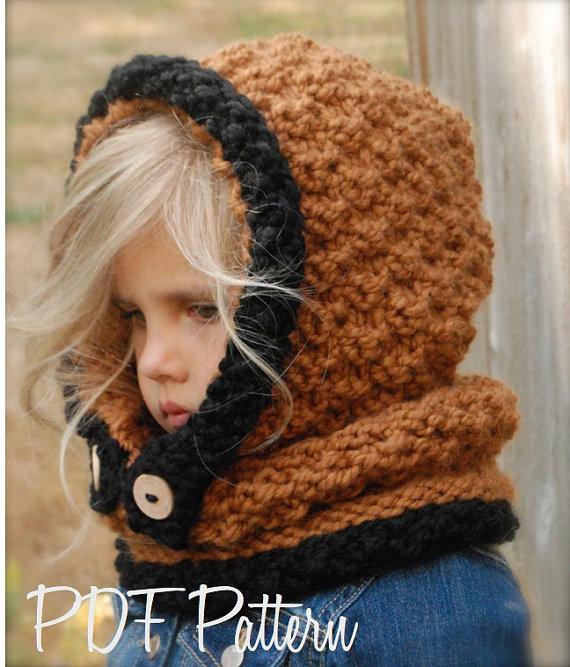 Knitting PATTERN-The Fayrah Hood  (12/18 months - Toddler - Child - Adult sizes)