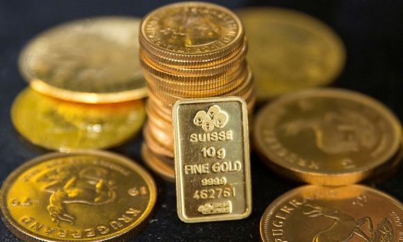 File photo of gold bullion is displayed at Hatton Garden Metals precious metal dealers in London
