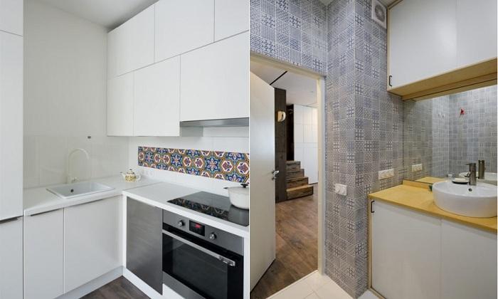 Кухня и санузел в квартире площадью 35 кв. метров.