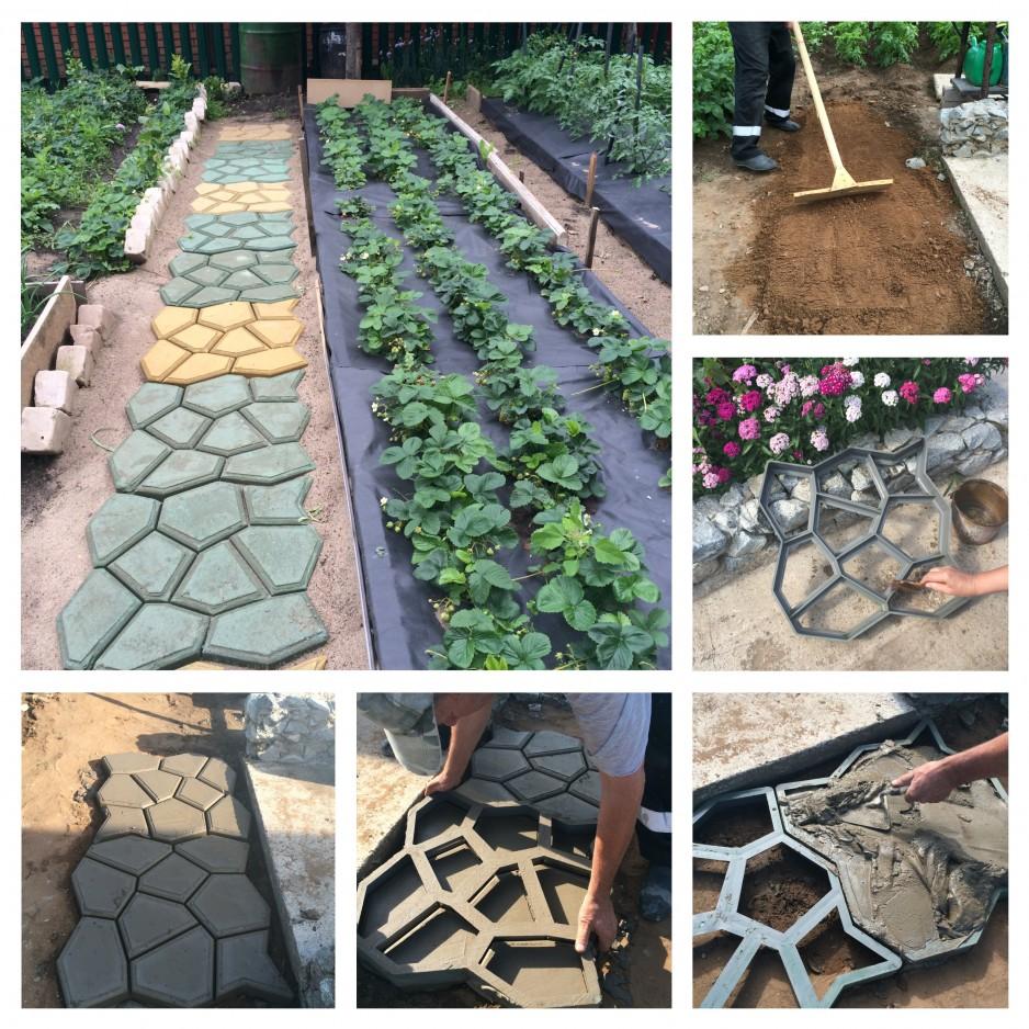 Создание садовой дорожки при помощи формы своими руками 27
