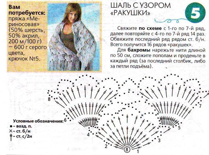 Вязание схемы рисунок ракушка