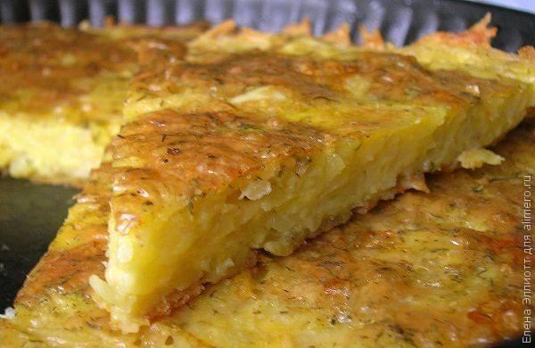 Замечательная запеканка из тертого картофеля с сыром и чесноком