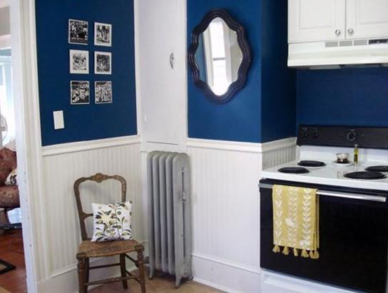 Deep blue wall white dresser