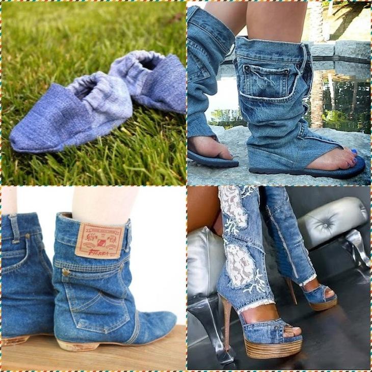 Как сшить обувь из старых джинсов своими руками