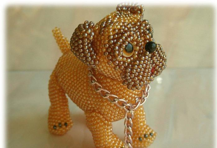 Плетение собаки из бисера