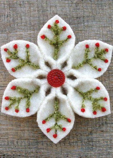 Зимние цветы из старых свалявшихся свитеров, кусочков фетра и флиса