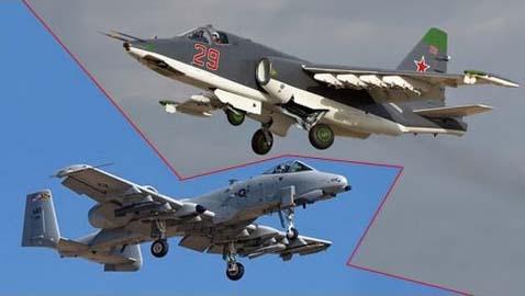 Штурмовики Су-25 и А-10 - взгляд на глядящих из окопа