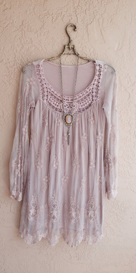 Blush pink Sheer Bohemian embroidered Dress with lace Great Gatsby Marie Antoinette Bohemian Hippie Gypsy: