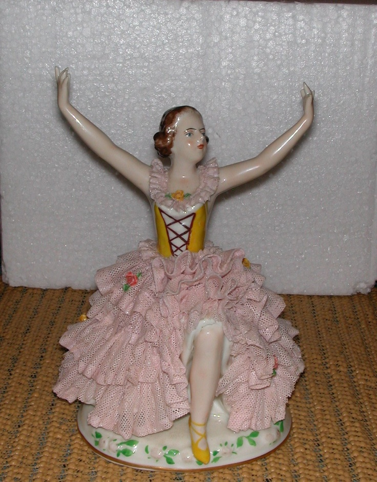 Antique Collectable Dresden Lace German Porcelain Figurine Ballerina Dancer Pink Lace Roses Victorian Figurine. via Etsy.