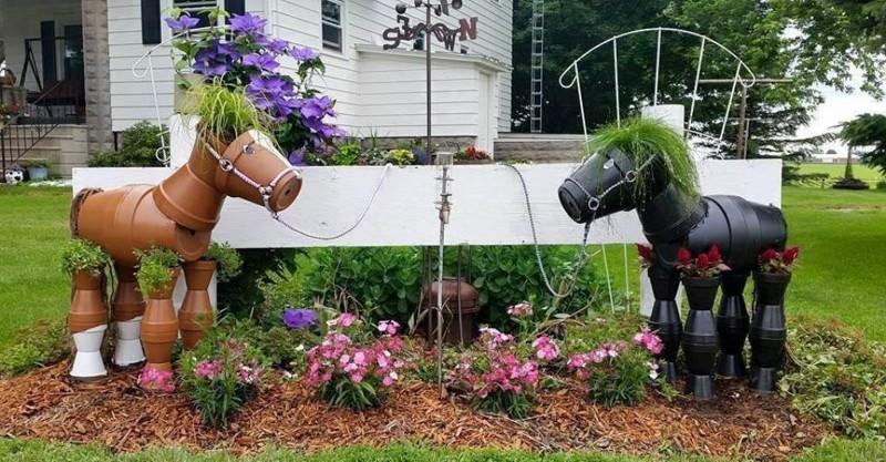 Замечательные лошадки из садовых кашпо дача, дачный участок, идеи для дачи, своими руками, сделай сам