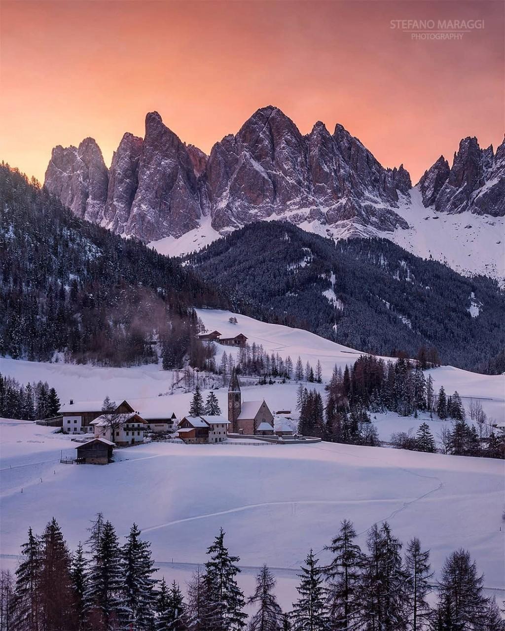 Прекрасные зимние пейзажи в Доломитовых Альпах Стефано Мараджи