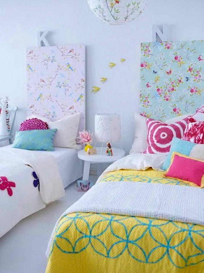 Спальня в цветах: голубой, белый, лимонный. Спальня в .