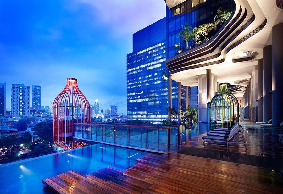 Parkroyal23 Уникальный сад на фасаде отеля в Сингапуре