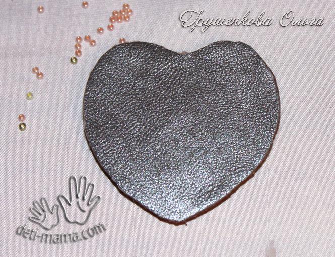МК кулон сердце с лентой шибори