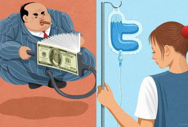 Злоупотребление в нашей жизни от художника - сатирика Джона Холкрофта