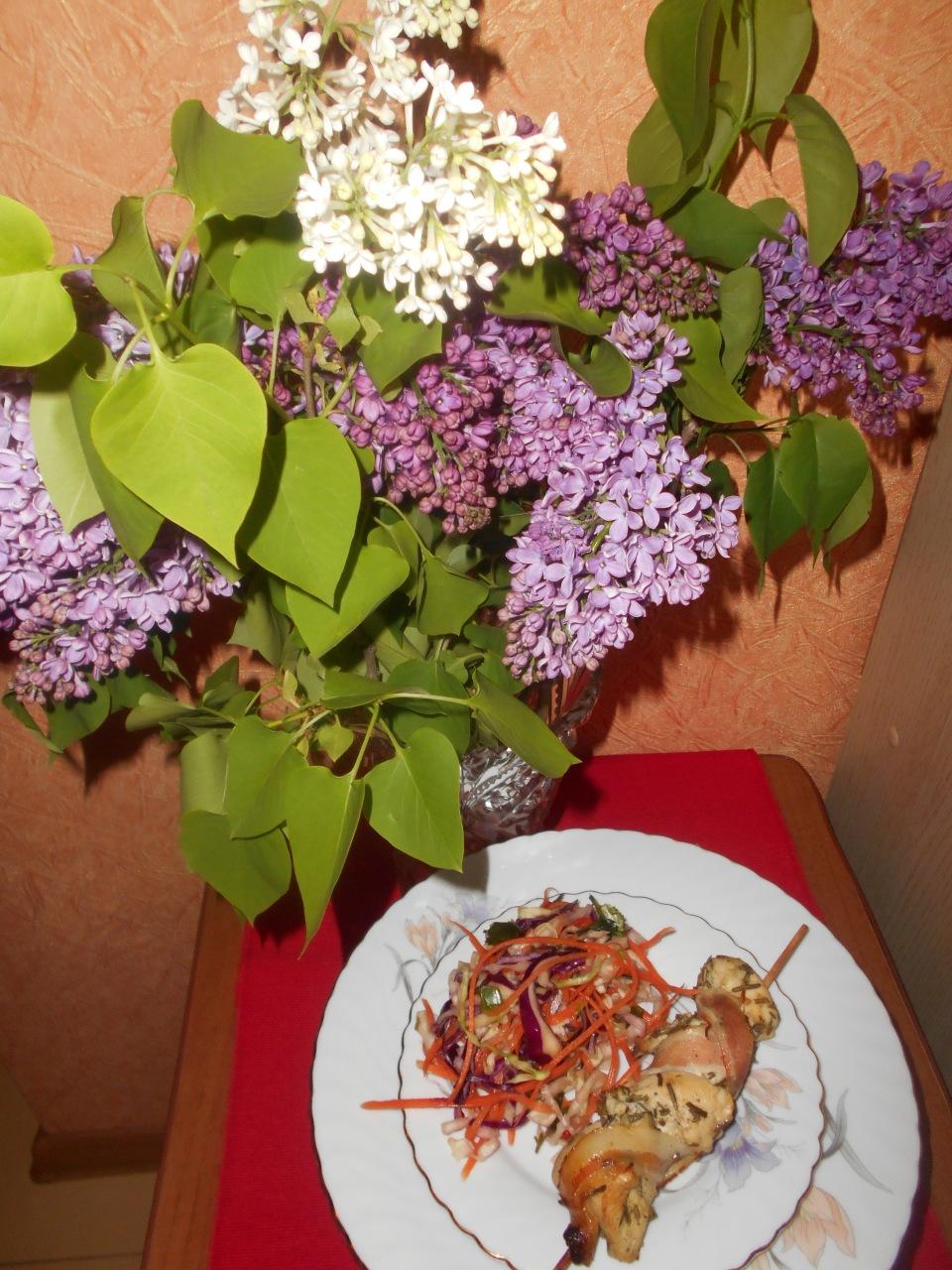 """На праздничный стол Марго. Куриные шашлычки """"от Джейми"""" и """"фигуристый"""" салат от меня)))"""