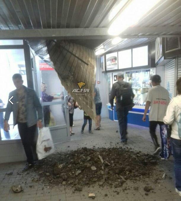 В Новосибирске на Речном обвалился потолок подземного перехода