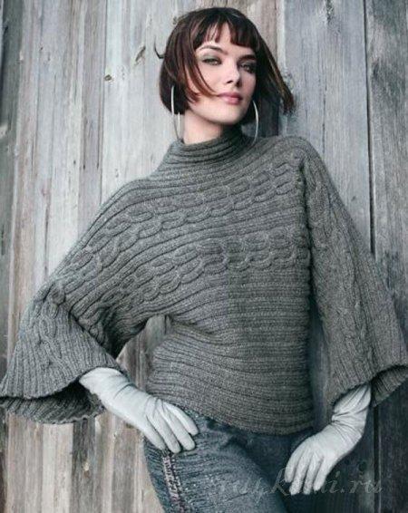Интересный пуловер спицами