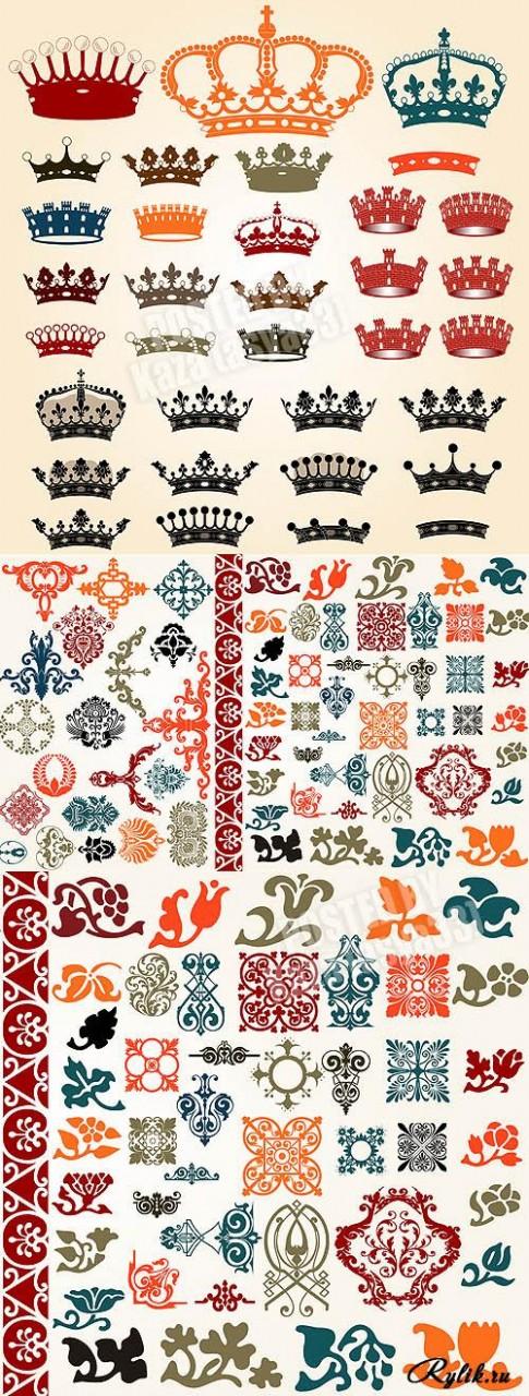 Геральдические элементы - корона, вензеля, цветы, рамки и бордюры