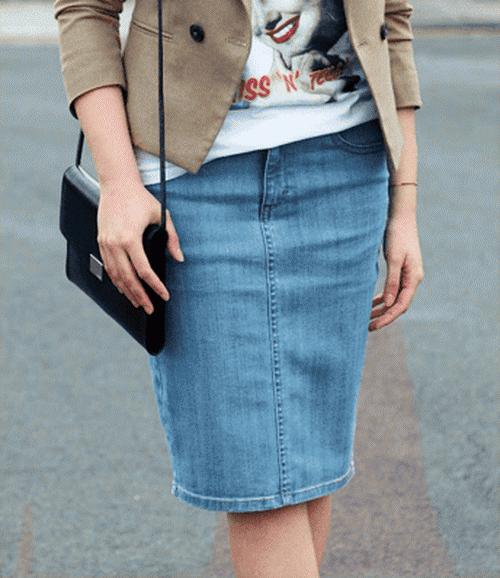Выкройка прямой юбки из джин…