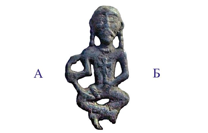 Предполагаемый «Троян» несториан - кочевников, образ триединого бога - «Троицы». область А (Адам) - человеческая сущность Христа, область Б (Бог) - божественная сущность Христа.