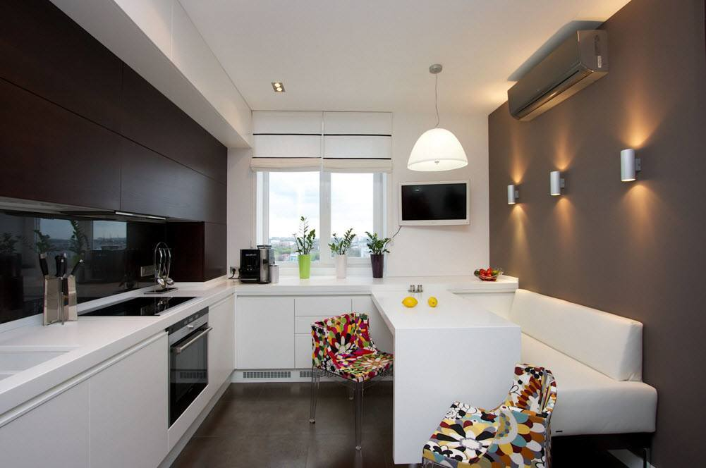 Дизайн кухни 9 кв с диваном