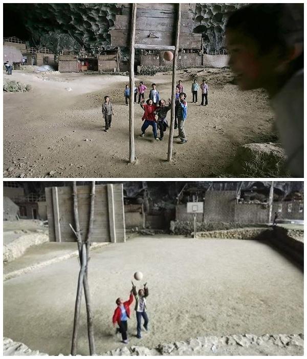 Баскетбольная площадка в пещерной деревне Чжундун.   Фото: grimnir74.livejournal.com.