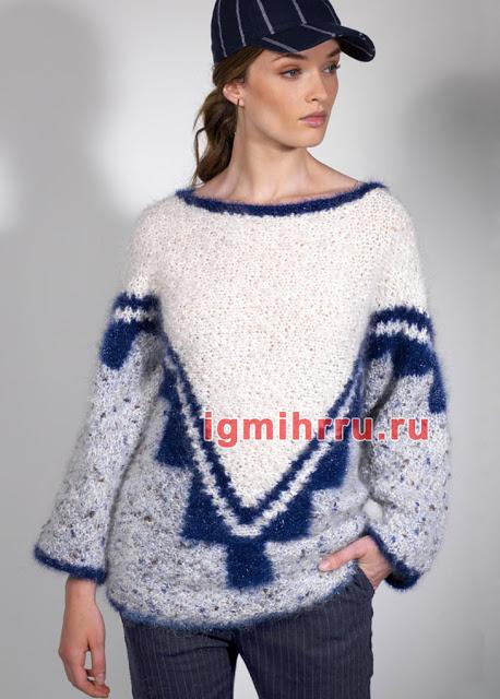 Пуловер из разных видов пряж…