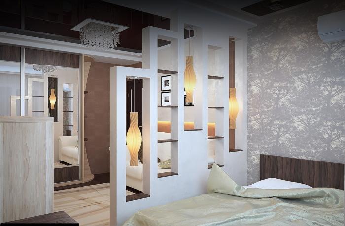 Например, очень востребованы перегородки с декоративными полочками, которые представляют собой своего рода шкафы.