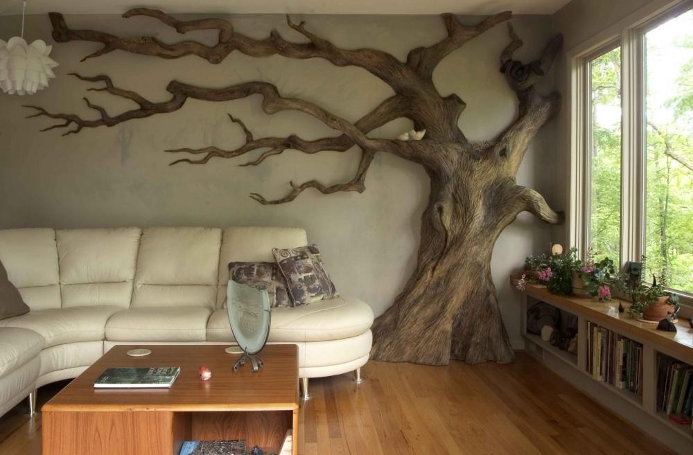 Сделать дерево на стене в интерьере своими руками - ОКТАКО
