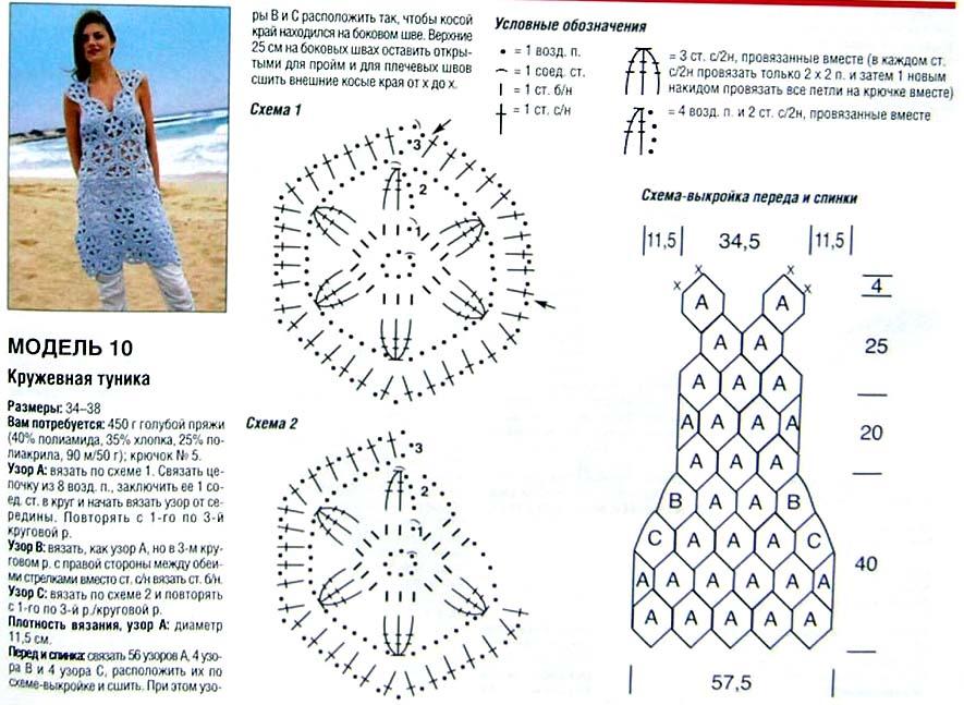 Вязание крючком платья и туники схемы