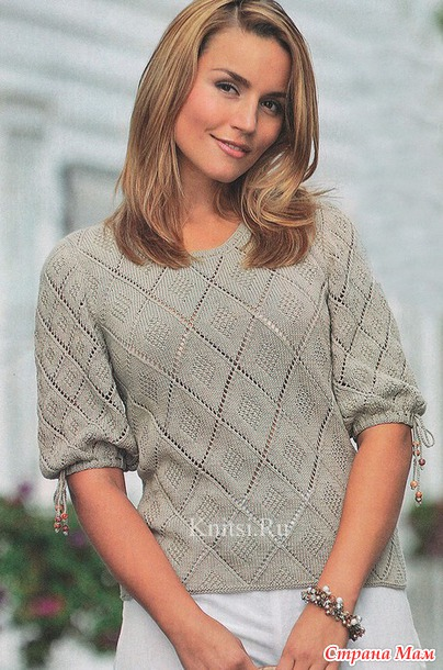 Милый и очень простой пуловер спицами