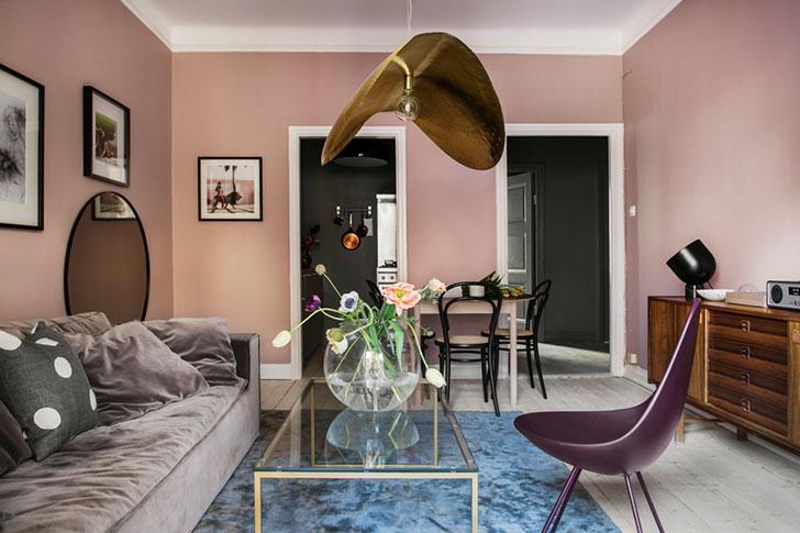 Вдохновение цветом: небольшая квартира в Стокгольме