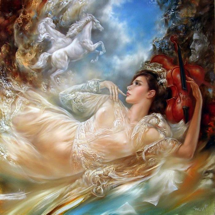 Очаровательные женские образы в работах литовского художника Станислава Сугинтаса (Stanislav Sugintas).