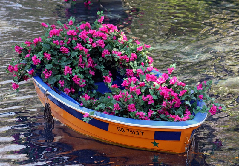 кашпо из лодки