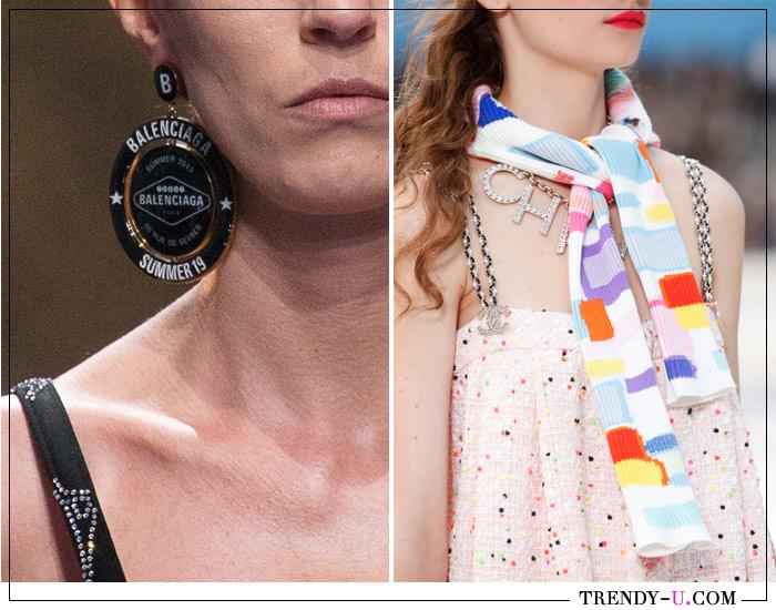 Серьги и украшение на шею с логотипами Balenciaga и Chanel