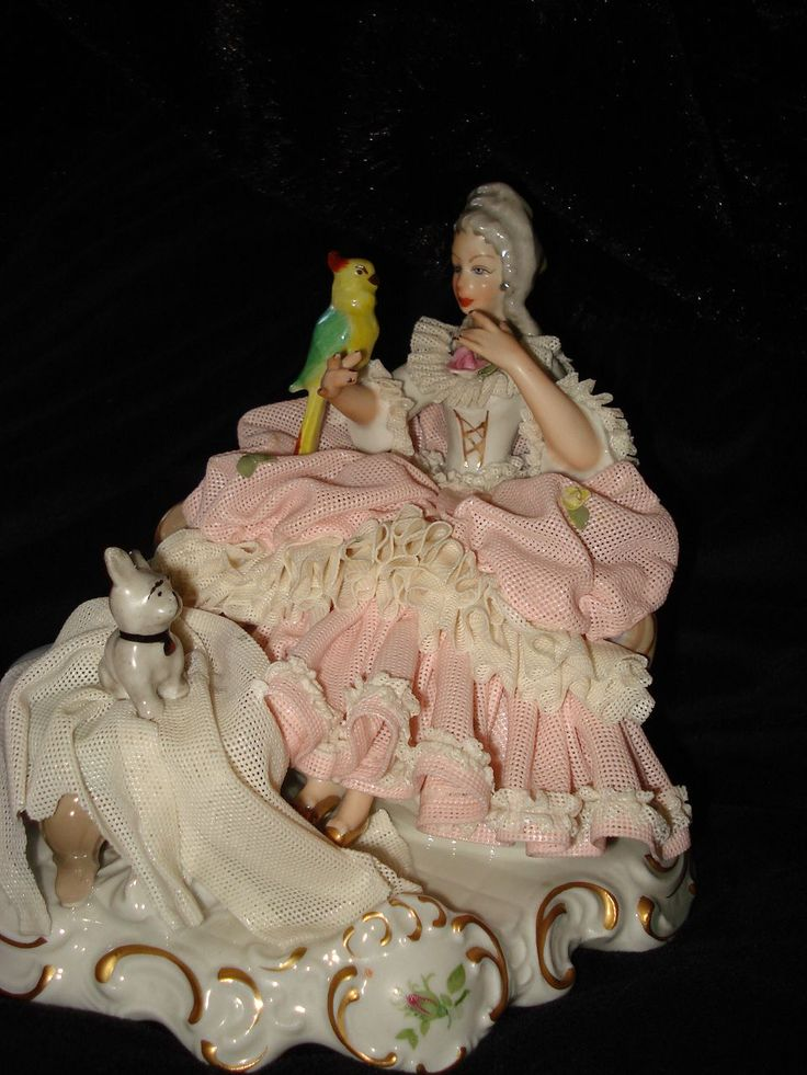Dresden Lace Figurine Woman With Dog And Parrot -- Dresden Crown Logo and Germany stamp.