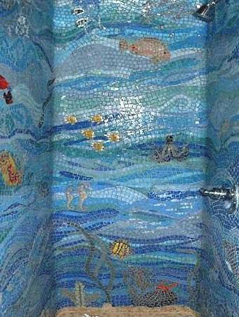 применение мозаики в ванной комнате
