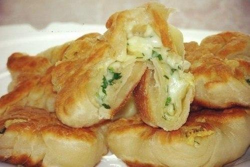 Конвертики на кефире с сыром и зеленью