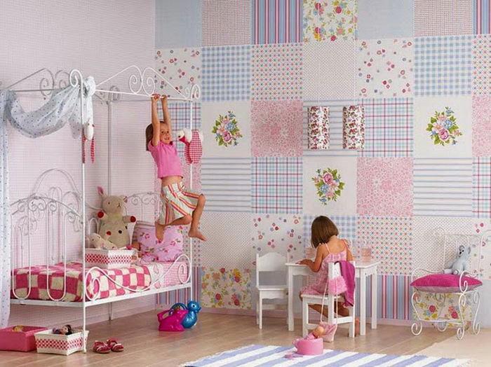Детская в цветах: голубой, серый, белый, розовый. Детская в .