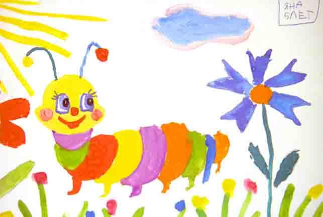рисунки детские красками фото