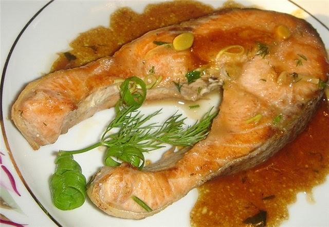 Рыба в соевом соусе с медом и имбирем фото