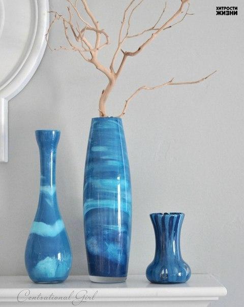 Декорирование вазочек путем окрашивания