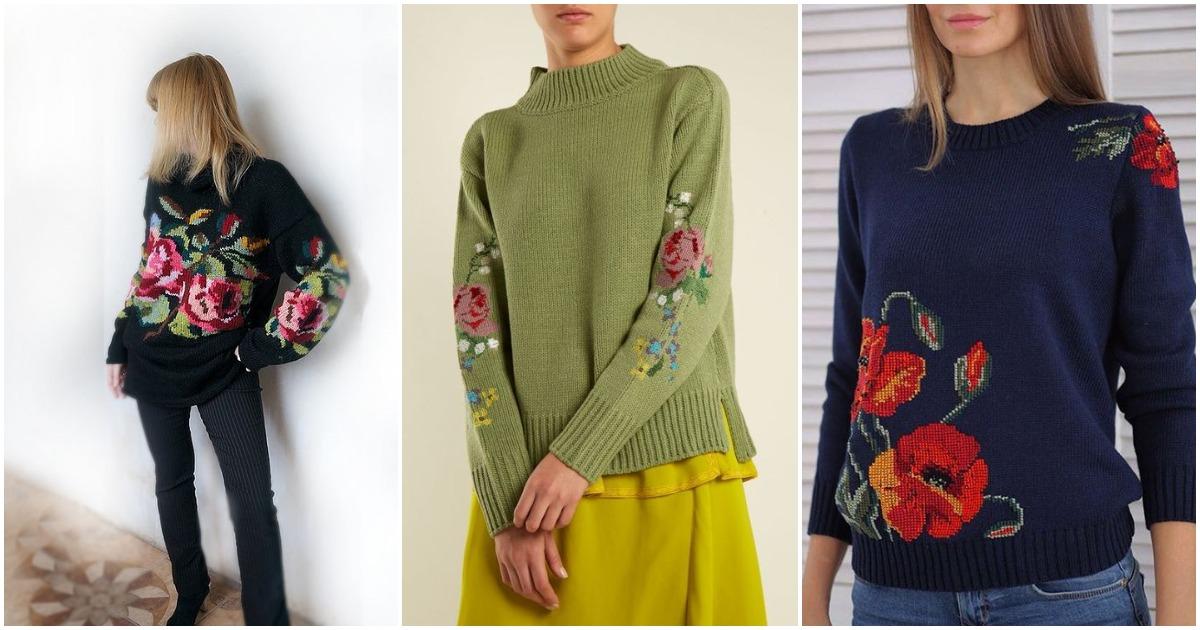 Идеи для вдохновения: одежда, украшенная вышивкой крестом