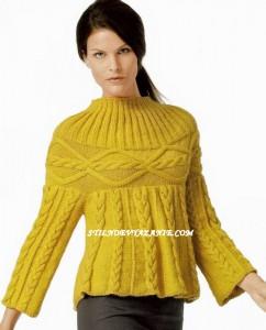 Желтый пуловер спицами
