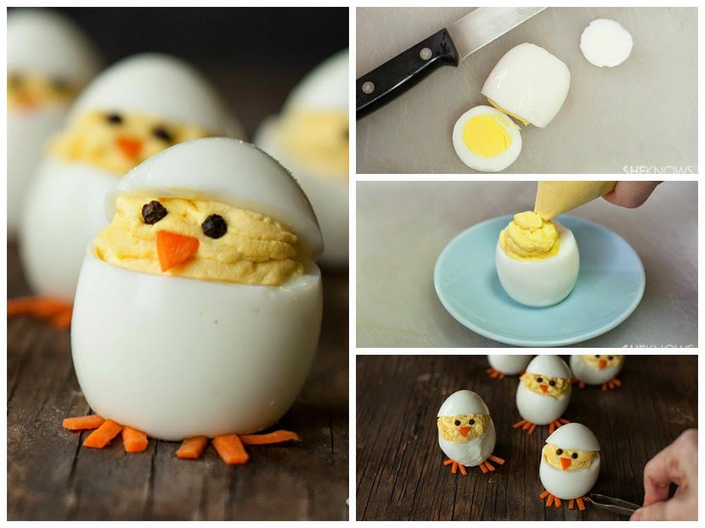 Как сделать из вареного яйца цыплят