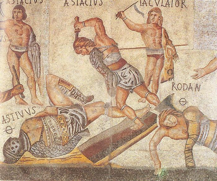 Древняя мозаика. Гладиаторы
